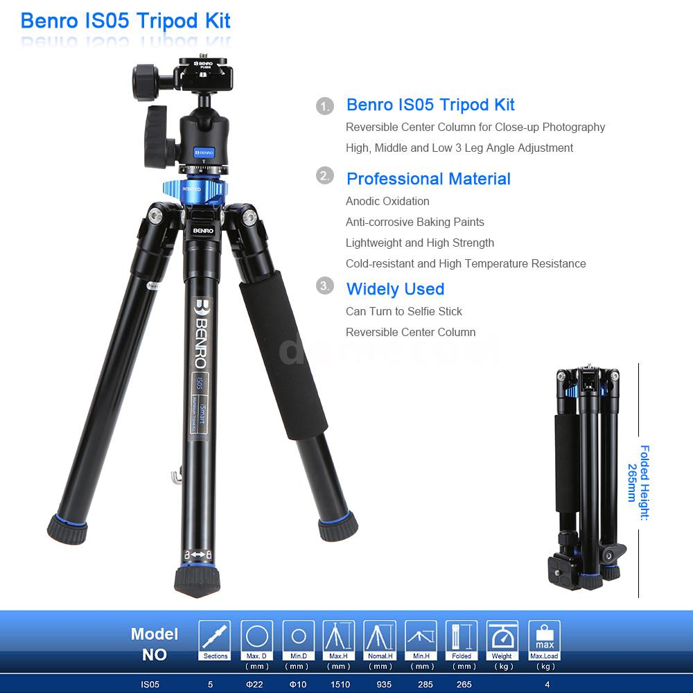 benro is05 portable tripod monopod kit with ball head for dslr camera smartphone ebay. Black Bedroom Furniture Sets. Home Design Ideas