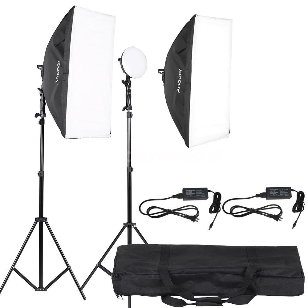 Light Stand Bag India: Andoer LED Photography Lighting Light Kit LED Lamp+Softbox