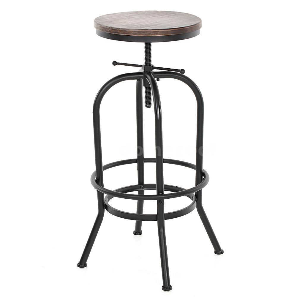Vintage Bar Stool Metal Design Wood Top Height Adjustable