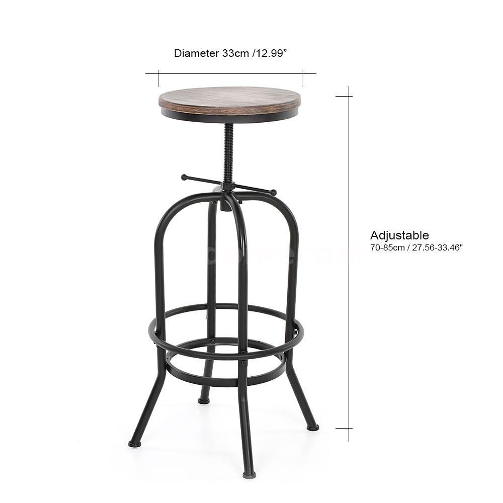 Vintage bar stool metal design wood top height adjustable for Table ronde style industriel