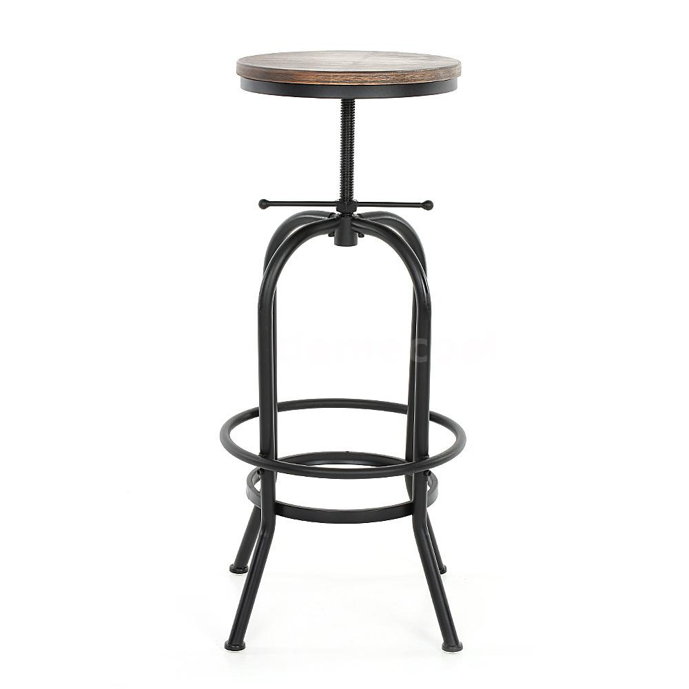 vintage bar stool metal design wood top height adjustable swivel industrial e7y5 ebay. Black Bedroom Furniture Sets. Home Design Ideas