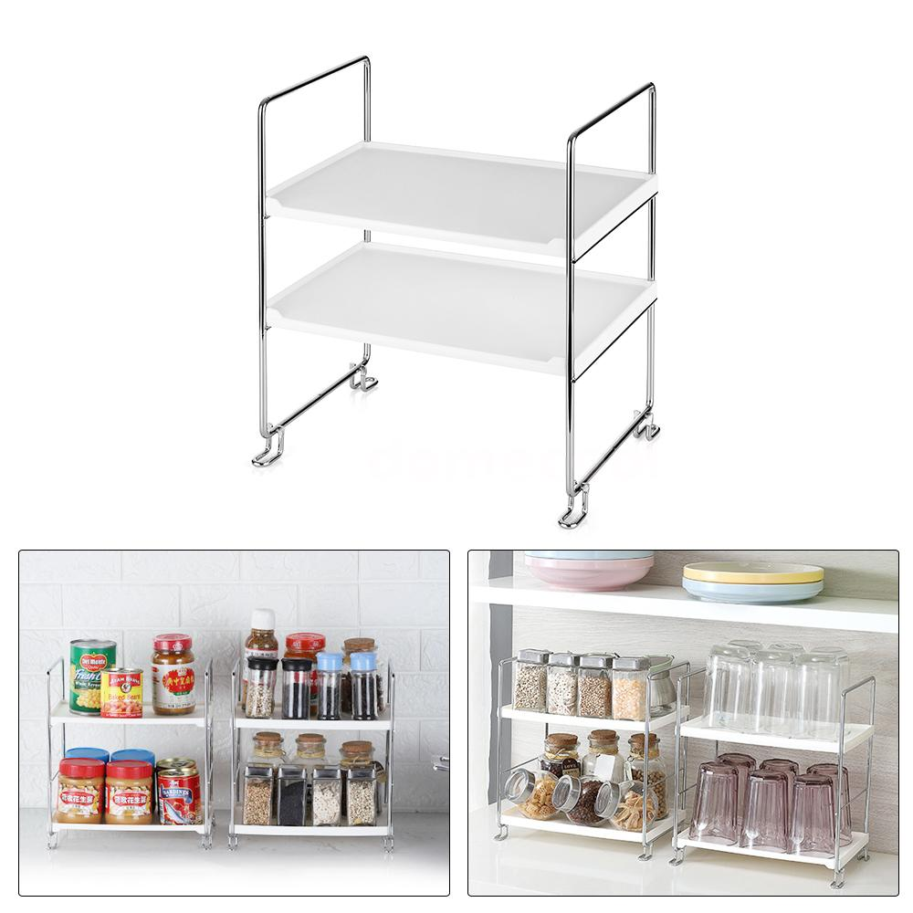 Magnificent Details About 2 Tier Organizer Shelf Storage Rack For Kitchen Bathroom Countertop Cabinet E7S7 Interior Design Ideas Clesiryabchikinfo