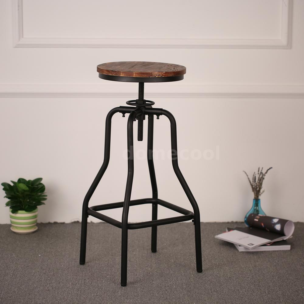 Industrial Wood Adjustable Seat Barstool High Chair: Set Of 4 Vintage Wooden Chair Swivel Bar Stool Height