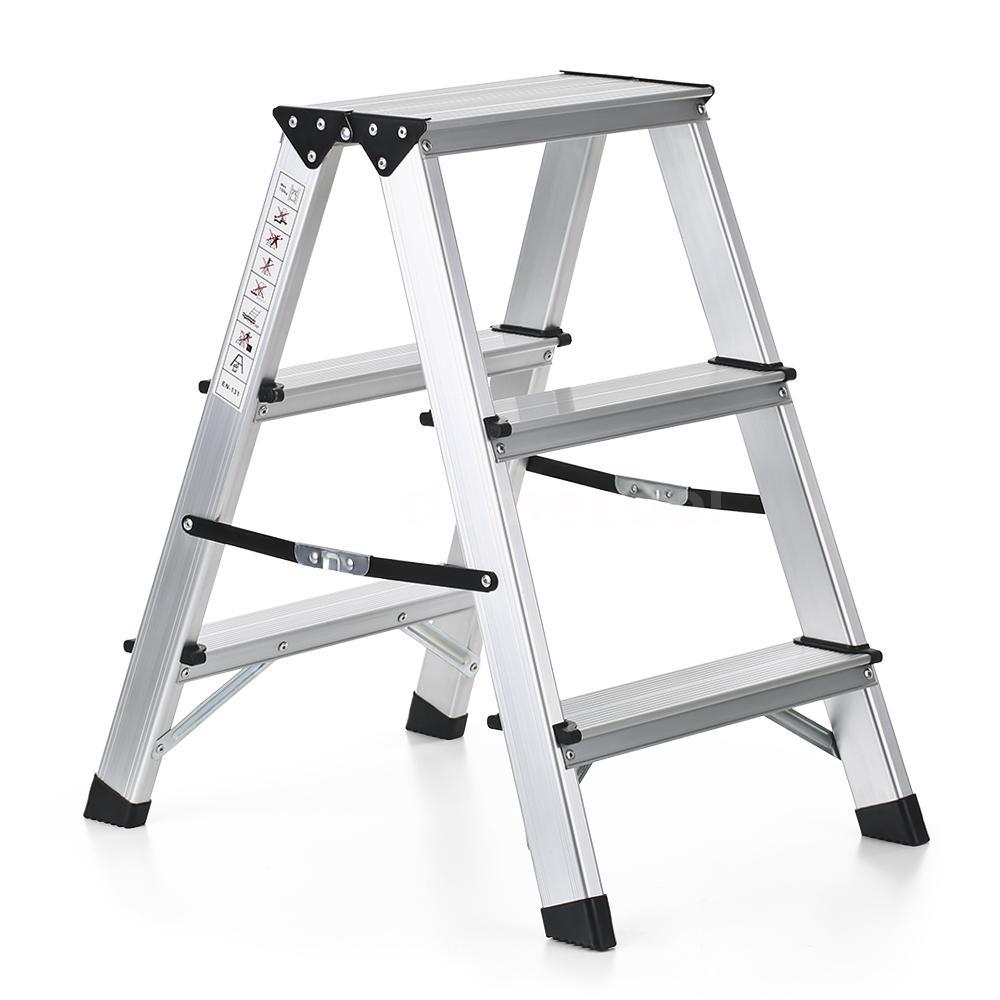 2 Step Aluminum Ladder Folding Platform Work Stool 330lbs