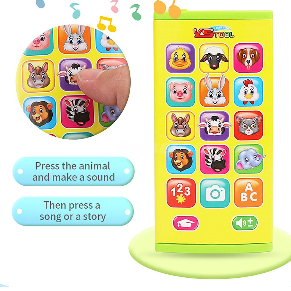 Two-Sided Screen Mobile Phone Toy Music Learning Animal Chat Count Smart U4B5